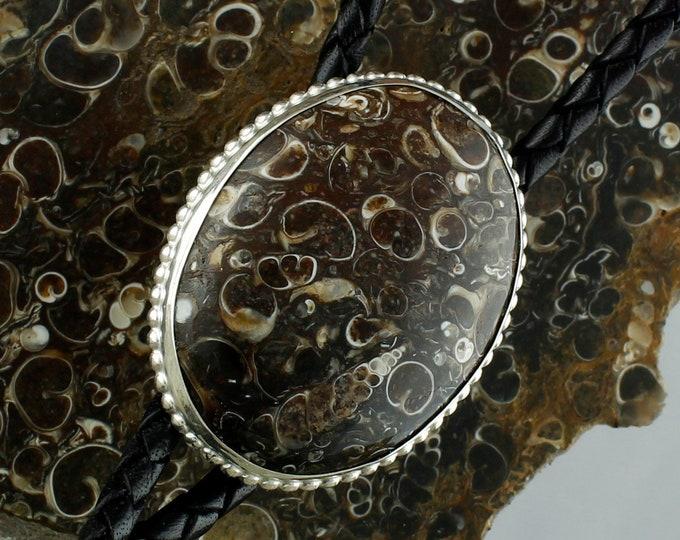 Natural Turritella Agate Bolo Tie - Western Bolo Tie - Cowboy Bolo Tie - Silver Bolo Tie - Bolo Tie Necklace