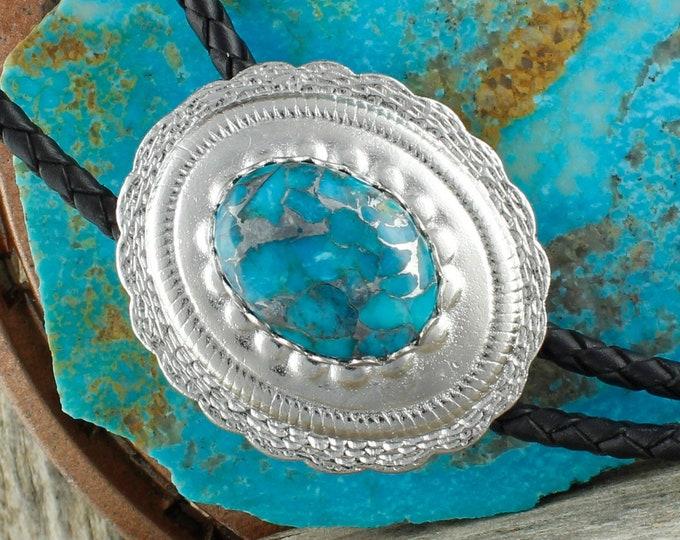 Mohave Blue Turquoise Bolo Tie - Western Bolo Tie -Cowboy Bolo Tie - Concho Bolo Tie