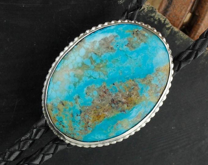 Kingman Turquoise Bolo Tie - Western Bolo Tie - Cowboy Bolo Tie - Sterling Silver Bolo Tie Necklace