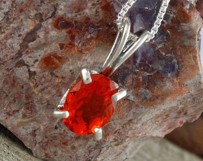 Mexican Fire Opal Pendant - Sterling Silver Pendant Necklace - Mexican Fire Opal Necklace