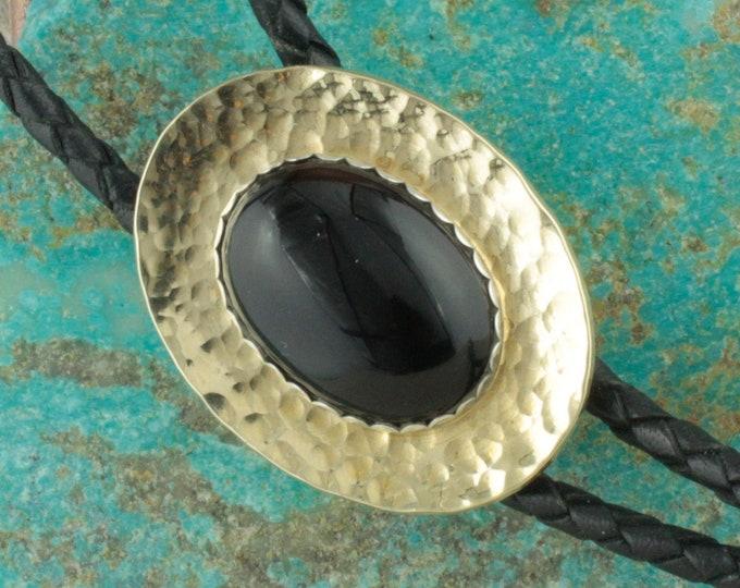 Natural Black Onyx Bolo Tie - Western Bolo Tie - Cowboy Bolo Tie Necklace - Brass Bolo Tie