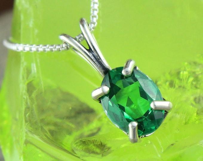 Green Topaz Pendant -Silver Pendant -Green Topaz Necklace -Pendant Necklace - Statement Pendant