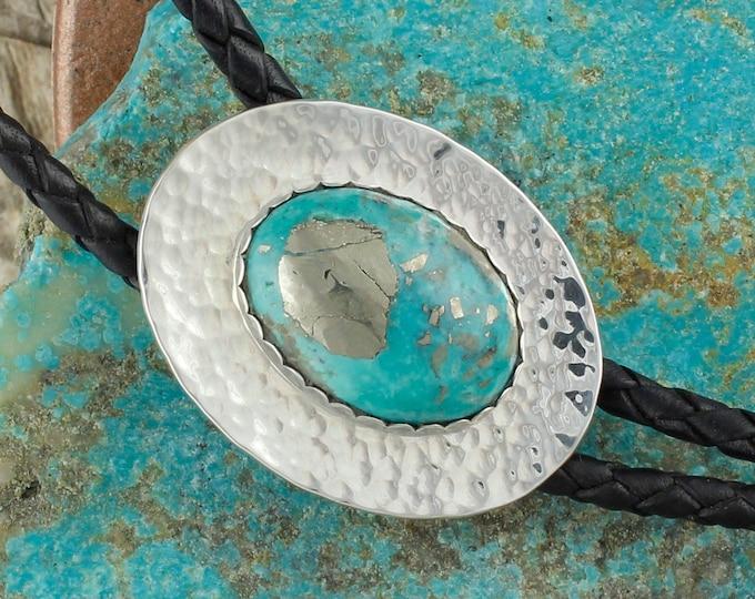 Nacozari Turquoise Bolo Tie - Western Bolo Tie - Silver Bolo Tie  Necklace - Cowboy Bolo Tie