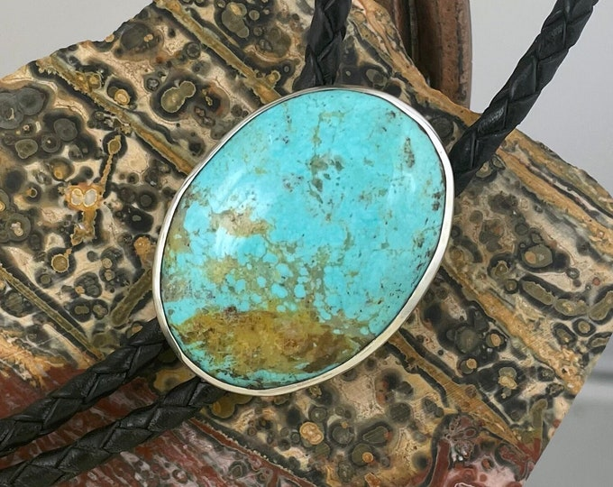 Kingman Turquoise Bolo Tie - Western Bolo Tie - Cowboy Bolo Tie - Sterling Silver Bolo Tie