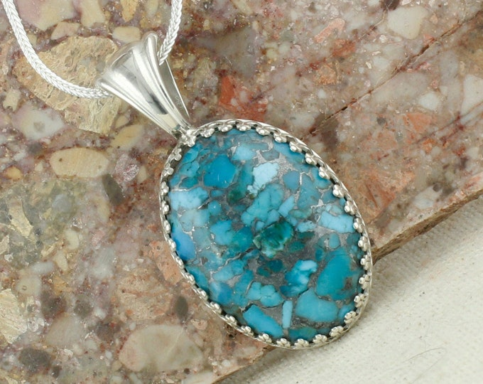 Mohave Blue Turquoise Pendant - Sterling Silver Pendant Necklace - Mohave  Blue Turquoise Necklace