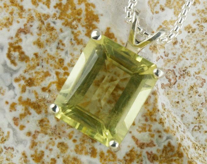 Natural Lemon Quartz Pendant - Sterling Silver Pendant Necklace - Natural Lemon Quartz Necklace