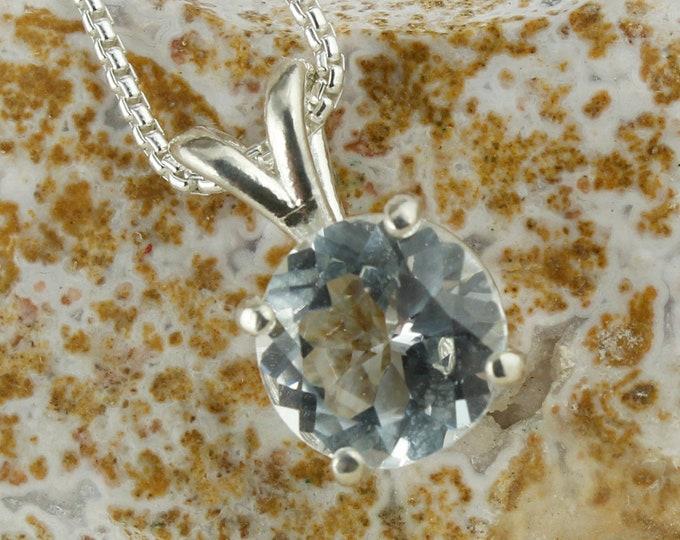 Sterling Silver White Topaz Pendant - Natural White Topaz Necklace