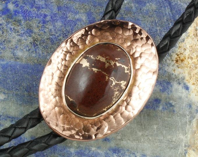 Lava Rock & Bronze Bolo Tie - Western Bolo Tie - Cowboy Bolo Tie Necklace - Copper Bolo Tie