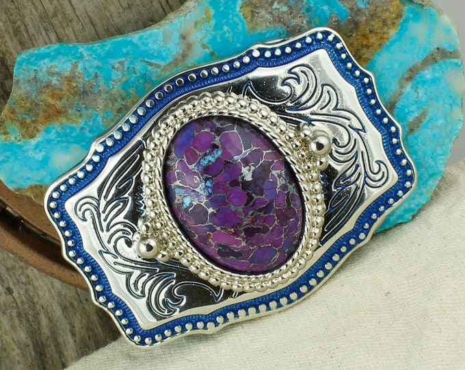 Mohave Purple Turquoise Belt Buckle - Western Belt Buckle - Cowboy Belt Buckle - Boho Belt Buckle