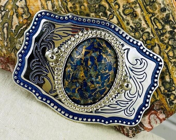 Lapis Lazuli & Bronze Belt Buckle - Western Style Belt Buckle - Cowboy Belt Buckle - Boho Belt Buckle