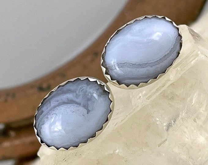 Natural Blue Lace Agate Earrings - Sterling Silver Earrings - Blue Lace Agate Stud Earrings