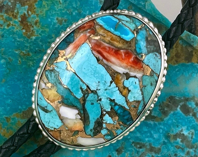 Spiny Oyster & Turquoise Bolo Tie - Western Bolo Tie - Sterling Silver Bolo Tie - Cowboy Bolo Tie