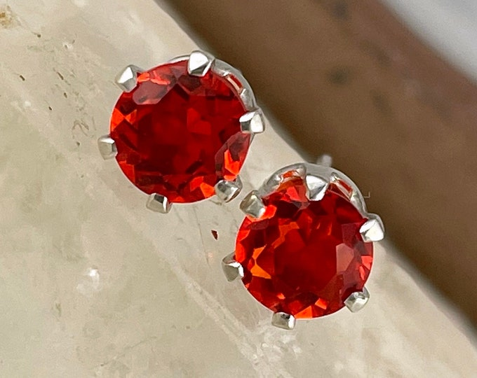 Natural Mexican Fire Opal Earrings - Sterling Silver Earrings - Mexican Fire Opal Stud Earrings