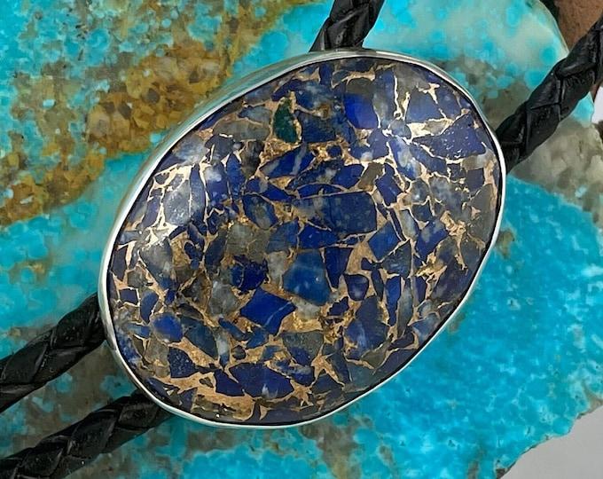 Lapis Lazuli & Bronze Bolo Tie - Western Bolo Tie - Cowboy Bolo Tie - Sterling Silver Bolo Tie