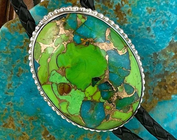 Mohave Green Turquoise Bolo Tie - Western Bolo Tie - Sterling Silver Bolo Tie - Cowboy Bolo Tie