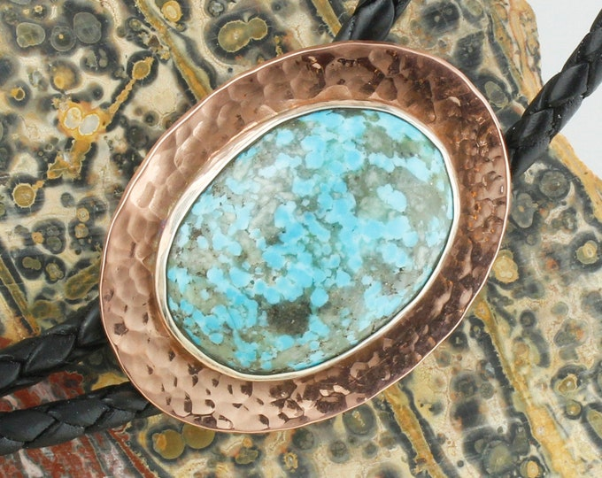 Kingman Turquoise Bolo Tie - Western Bolo Tie - Cowboy Bolo Tie Necklace - Copper Bolo Tie