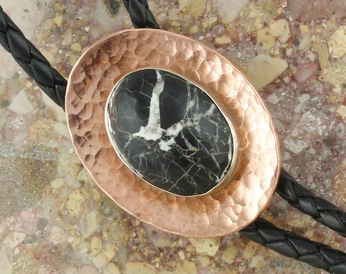 Natural White Buffalo Bolo Tie - Western Bolo Tie -Cowboy Bolo Tie Necklace - Copper Bolo Tie