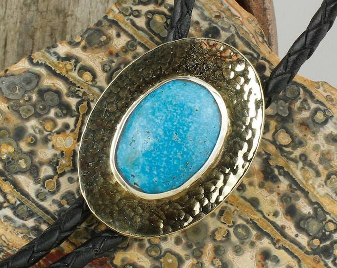 Blue Kingman Turquoise Bolo Tie - Western Brass Bolo Tie - Cowboy Bolo Tie Necklace