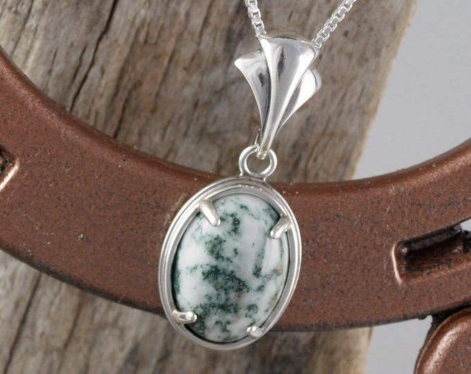 Sterling Silver Pendant/Necklace-Green Tree Agate Pendant/Necklace - 18mm x 13mm Green Tree Agate Stone with Sterling Silver Setting