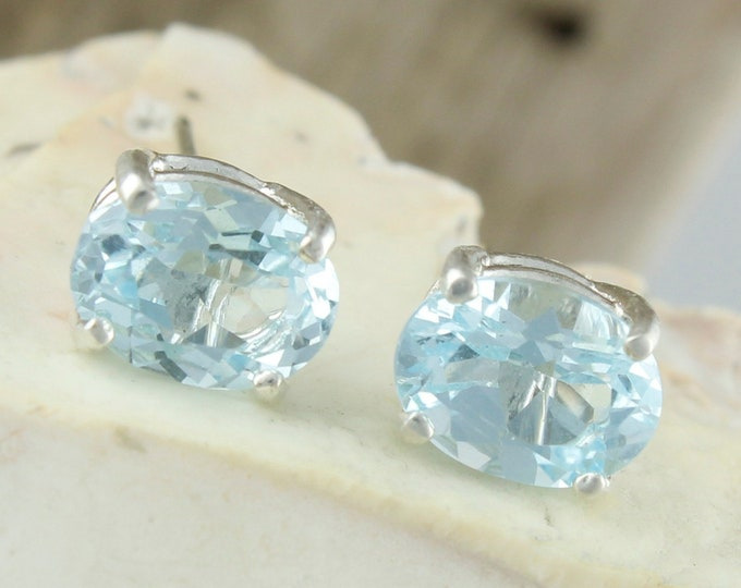 Natural Aquamarine Earrings - Sterling Silver Post Earrings - Blue Aquamarine Studs - Stud Earrings