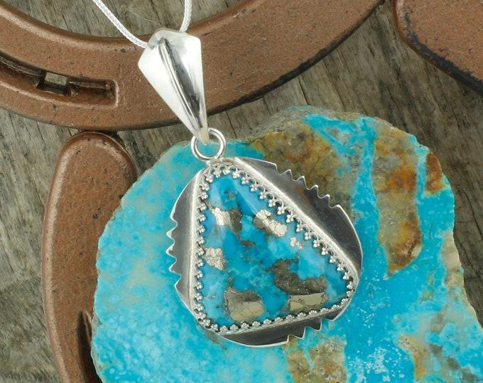 Kingman Turquoise & Pyrite Pendant - Sterling Silver Pendant Necklace - Kingman Turquoise and Pyrite Necklace