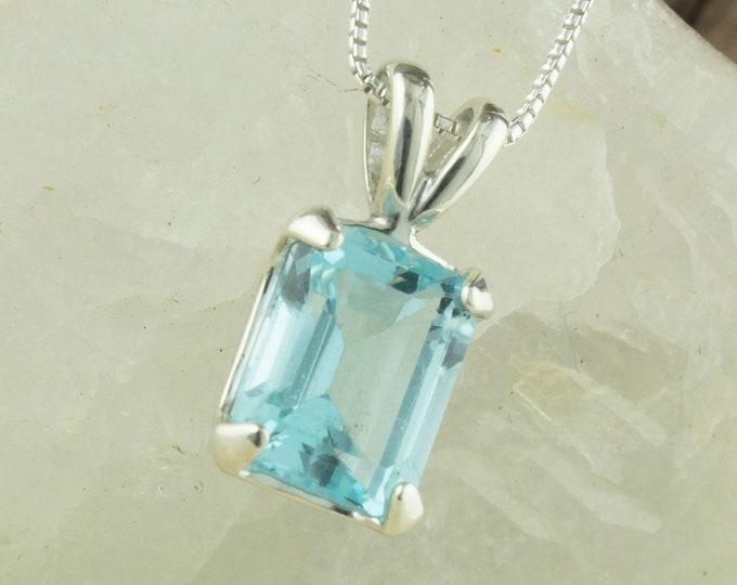 Natural Aquamarine Pendant -Sterling Silver Pendant Necklace -Blue Aquamarine Necklace