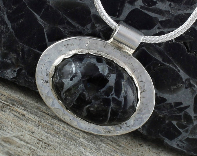 Obsidian Pendant-Sterling Silver Pendant Necklace-Obsidian Necklace