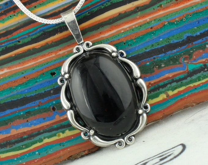 Natural Black Onyx Pendant -Sterling Silver Pendant Necklace-Black Onyx Necklace