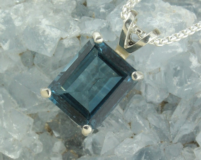 Natural London Blue Topaz Pendant-Sterling Silver Pendant Necklace - London Blue Topaz Necklace