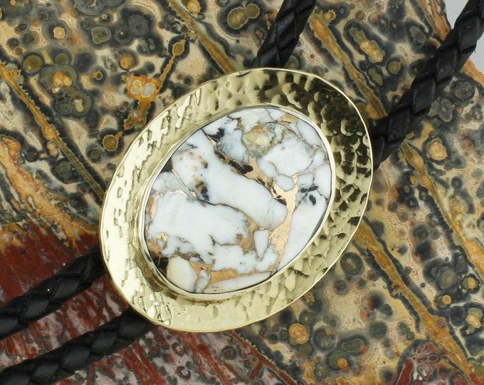 White Buffalo & Bronze Bolo Tie -Western Bolo Tie -Cowboy Bolo Tie Necklace - Brass Bolo Tie