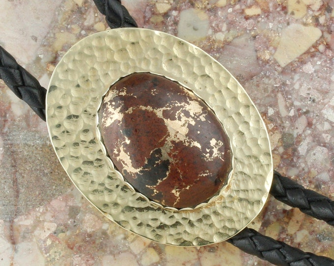 Lava Rock & Bronze Bolo Tie - Western Bolo Tie - Cowboy Bolo Tie Necklace - Brass and Sterling Silver Bolo Tie