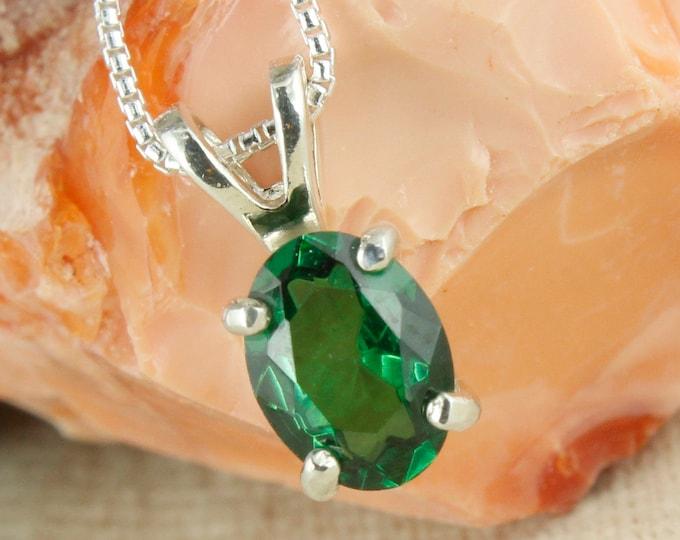 Green Topaz Pendant -Sterling Silver Pendant Necklace -Green Topaz Necklace