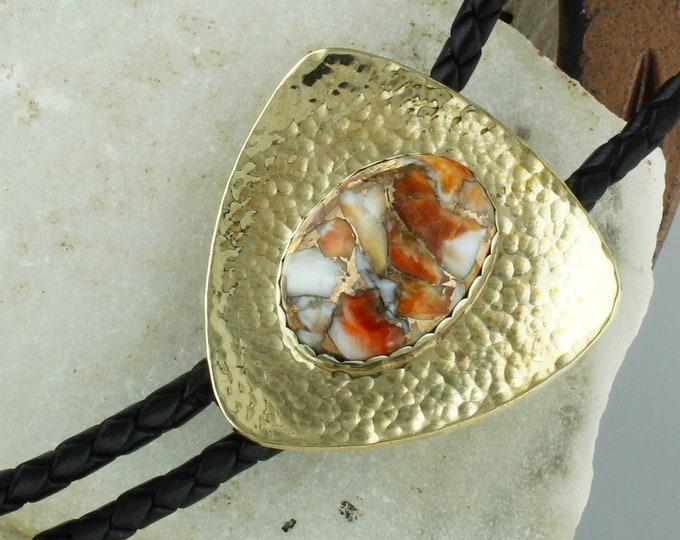 Spiny Oyster & Bronze Bolo Tie - Western Bolo Tie -Cowboy Bolo Tie Necklace - Brass Bolo Tie