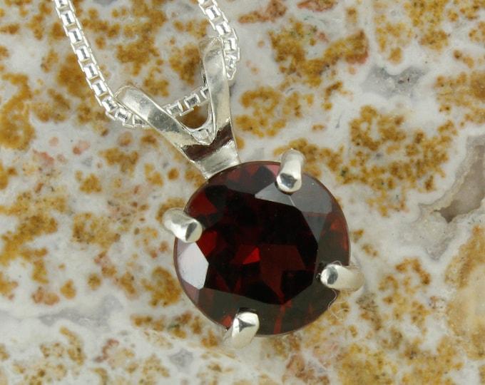 Natural Red Garnet Pendant - Sterling Silver Pendant Necklace - Natural Red Garnet Necklace