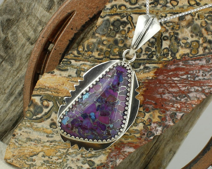 Sterling Silver Mohave Purple Turquoise Pendant - Mohave Purple Turquoise Necklace