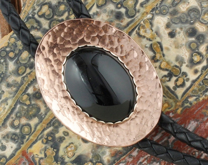 Natural Black Onyx Bolo Tie - Western Bolo Tie - Cowboy Bolo Tie - Copper Bolo Tie