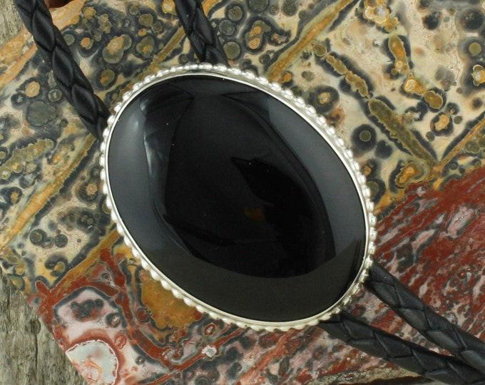 Natural Black Bolo Tie -Western Bolo Tie -Cowboy Bolo Tie Necklace - Sterling Silver Bolo Tie
