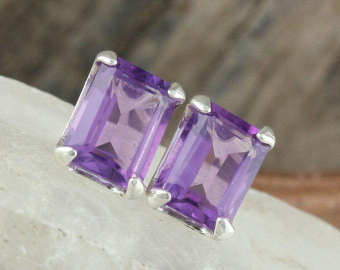 Natural Amethyst Earrings-Sterling Silver Earrings-Purple Amethyst Studs - Stud Earrings