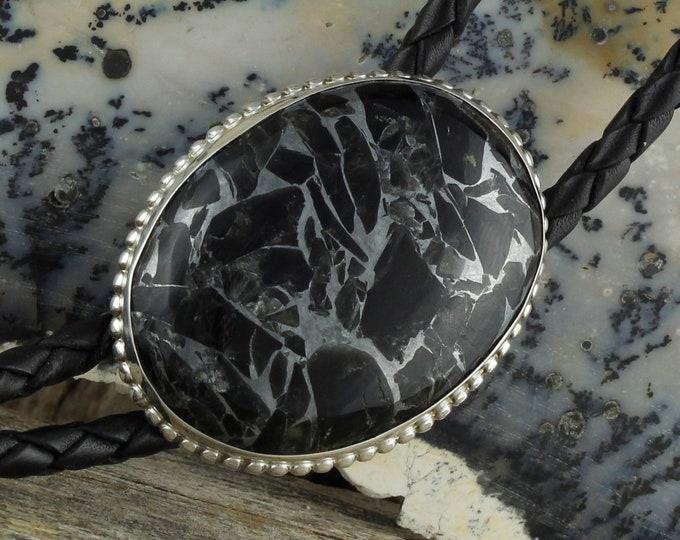 Obsidian & Zinc Bolo Tie - Western Bolo Tie - Cowboy Bolo Tie - Sterling Silver Bolo Tie Necklace