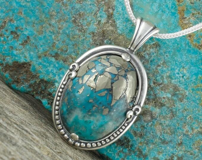 Nacozari Turquoise Pendant -Sterling Silver Pendant Necklace -Blue Nacozari Turquoise Necklace