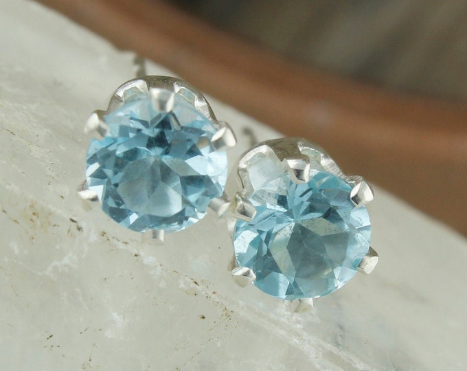 Natural Aquamarine Earrings - Sterling Silver Earrings -Aquamarine Studs - Stud Earrings