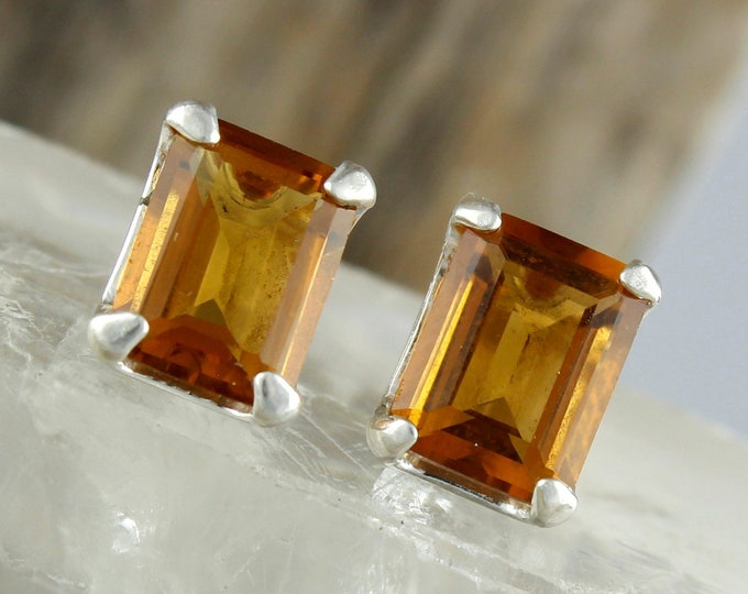 Madeira Citrine  Earrings - Silver Post Earrings - Madeira Citrine Studs - Statement Earrings