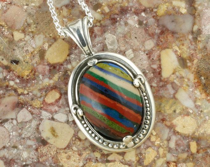 Rainbow Calsilica Pendant - Sterling Silver Pendant Necklace - Rainbow Calsilica Necklace