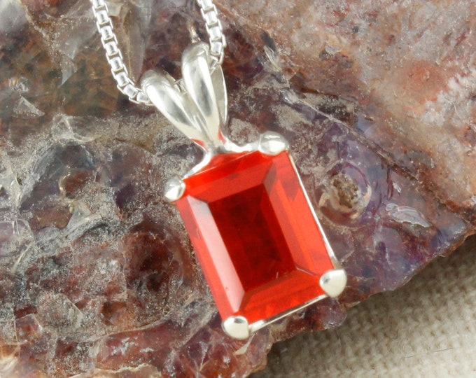 Natural Mexican Fire Opal Pendant -Silver Pendant Necklace-Mexican Fire Opal Necklace