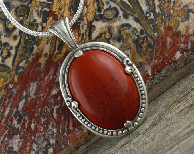 Natural Red Jasper Pendant - Sterling Silver Pendant Necklace -Red Jasper Necklace