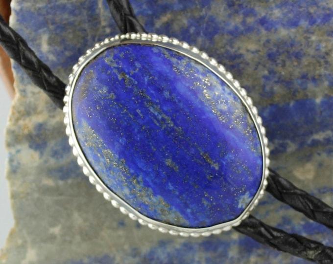 Natural Blue Lapis Bolo Tie - Western Bolo Tie - Cowboy Bolo Tie - Sterling Silver Bolo Tie Necklace