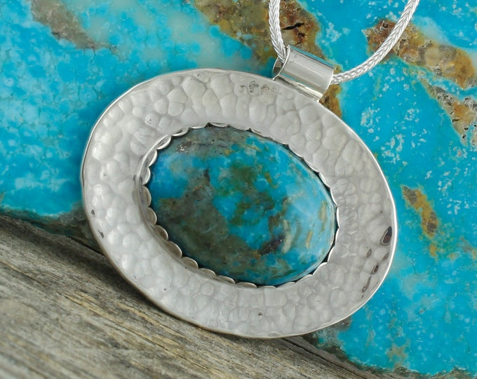 Blue Kingman Turquoise Pendant - Sterling Silver Pendant Necklace - Kingman Turquoise  Necklace