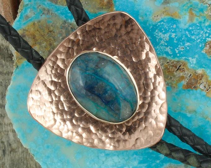 Natural Blue Azurite Bolo Tie - Western Bolo Tie - Cowboy Bolo Tie Necklace - Copper Bolo Tie