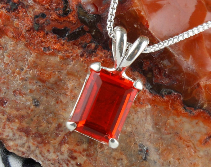 Mexican Fire Opal Pendant -Sterling Silver Silver Pendant Necklace - Mexican Fire Opal Necklace