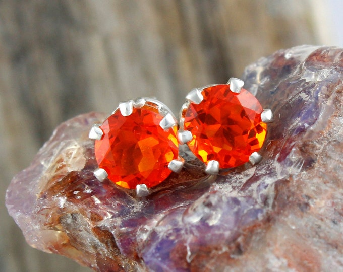 Mexican Fire Opal Earrings - Sterling Silver Posts Earrings - Mexican Fire Opal Studs